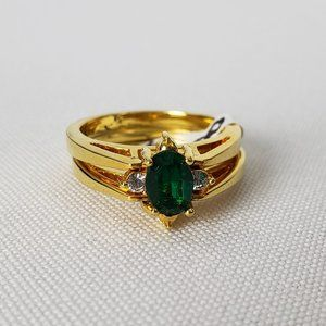 Gold & Green Reversible Ring Size 8